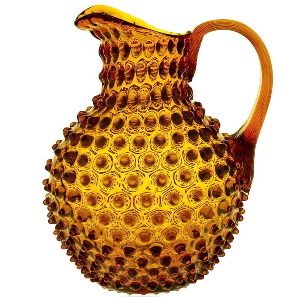 Nuppenglaskrug mit Henkel - Amberglas