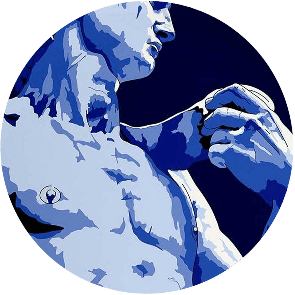 Michelangelo Buonarroti David Wandteller in blau