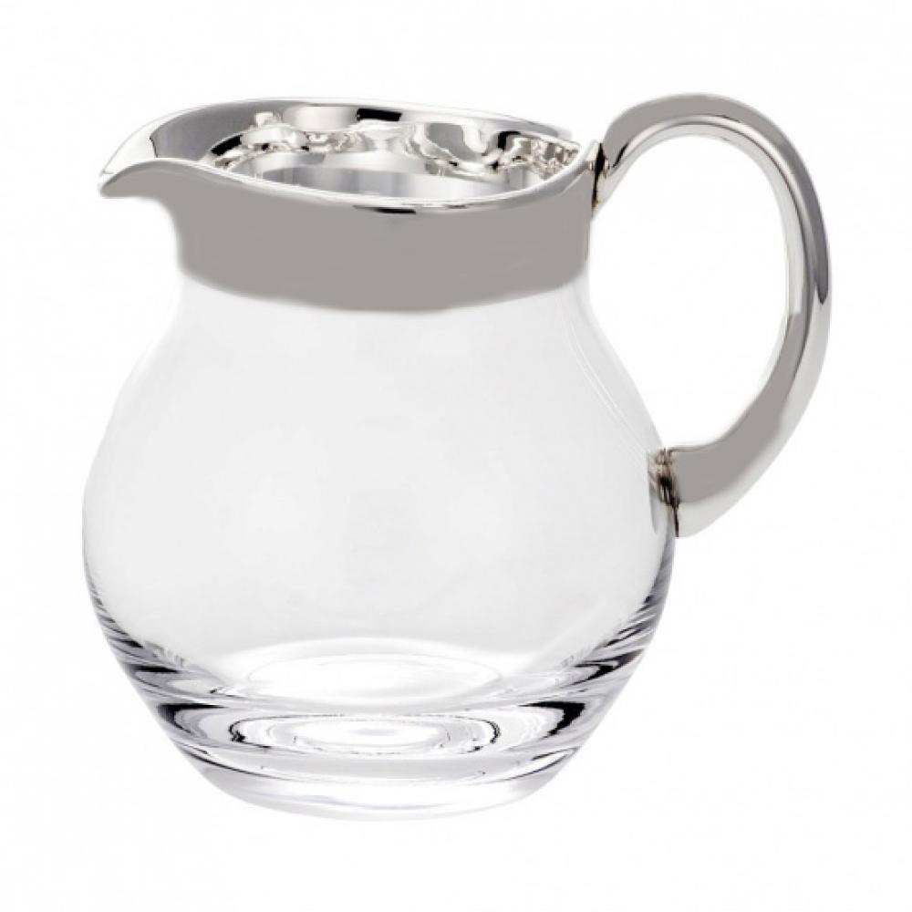 Glass jug 1.5l with wide fine silver rim & handle - matt