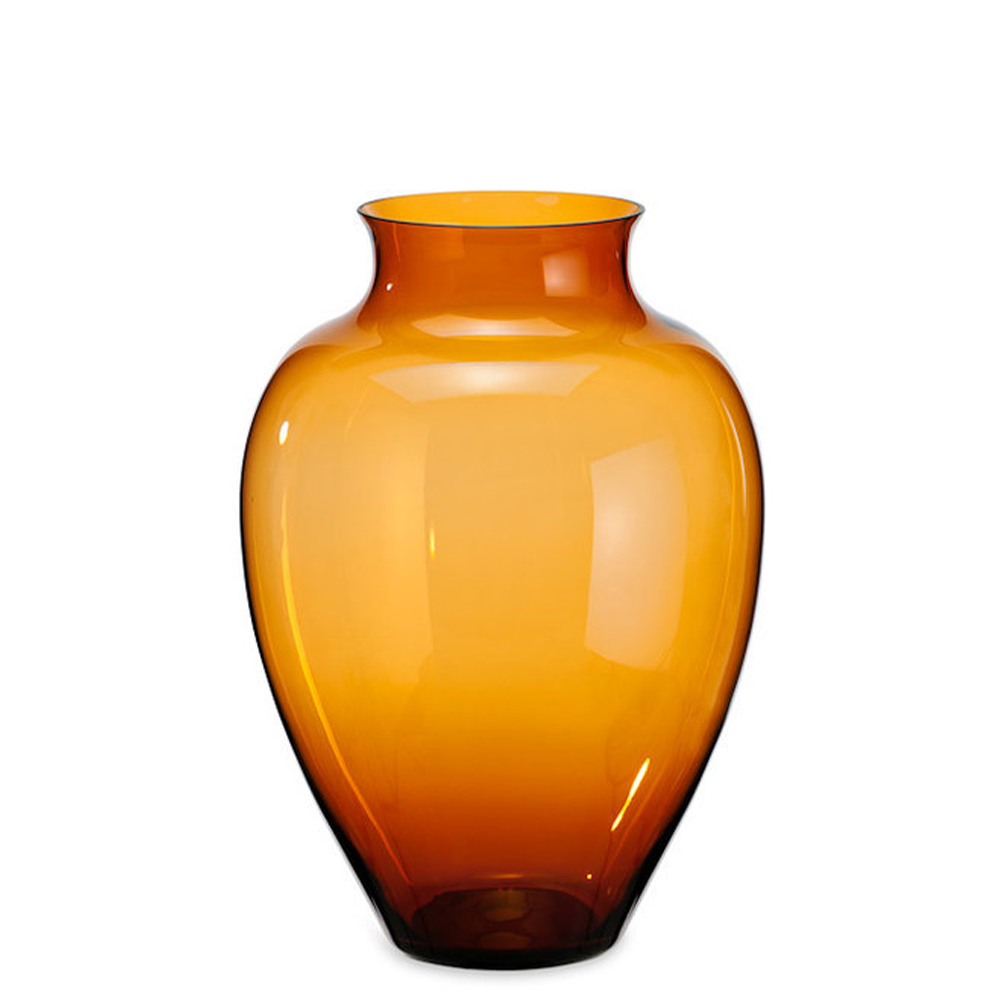 Amber glass belly vase by Sven Markus von Hacht