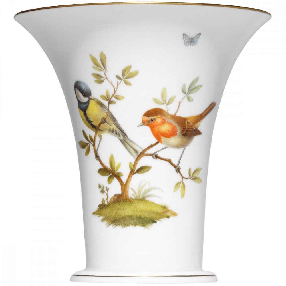 """Chalice vase"" Bird painting, rich with a fine gold rim"
