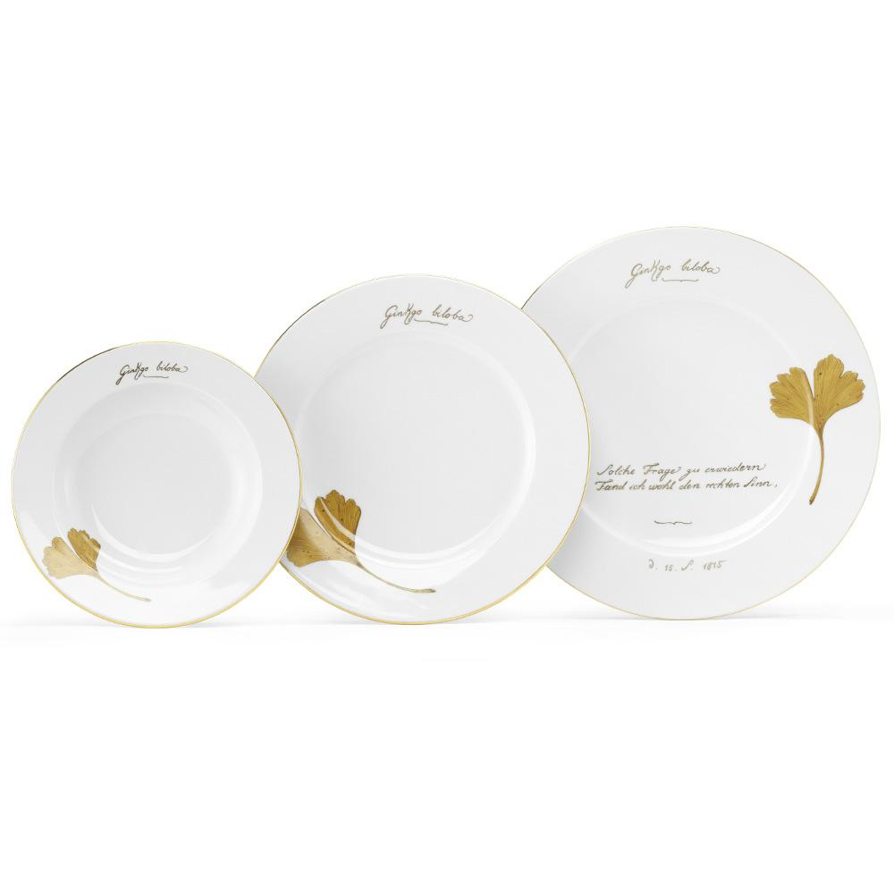 """The golden ginkgo"" dinner service for 6 people - Kopie"